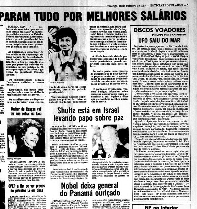 A Folha de São Paulo republica notícia sobre avistamento de OVNI / OSNI no Mar do Japão 1