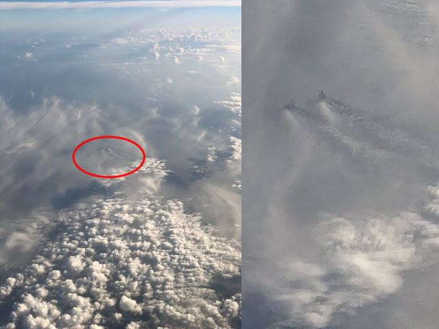 Enormes estruturas nas nuvens, a grande altitude