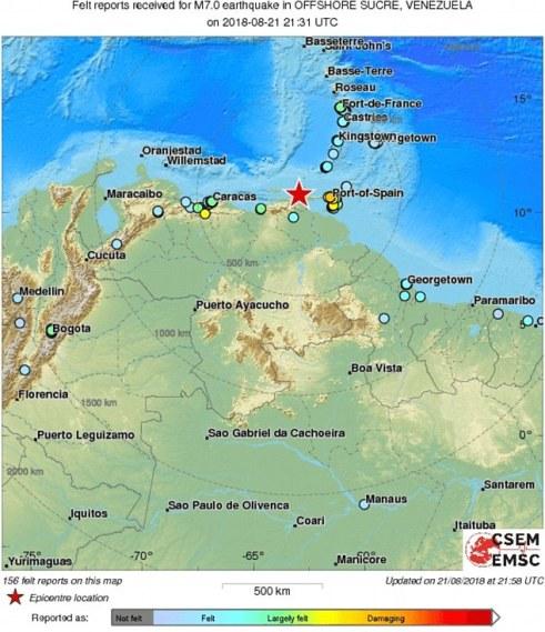 Terremoto de magnitude 7,3 atinge costa da Venezuela 1