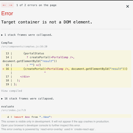 Error when react portal is loaded and dom node is not found in the document object