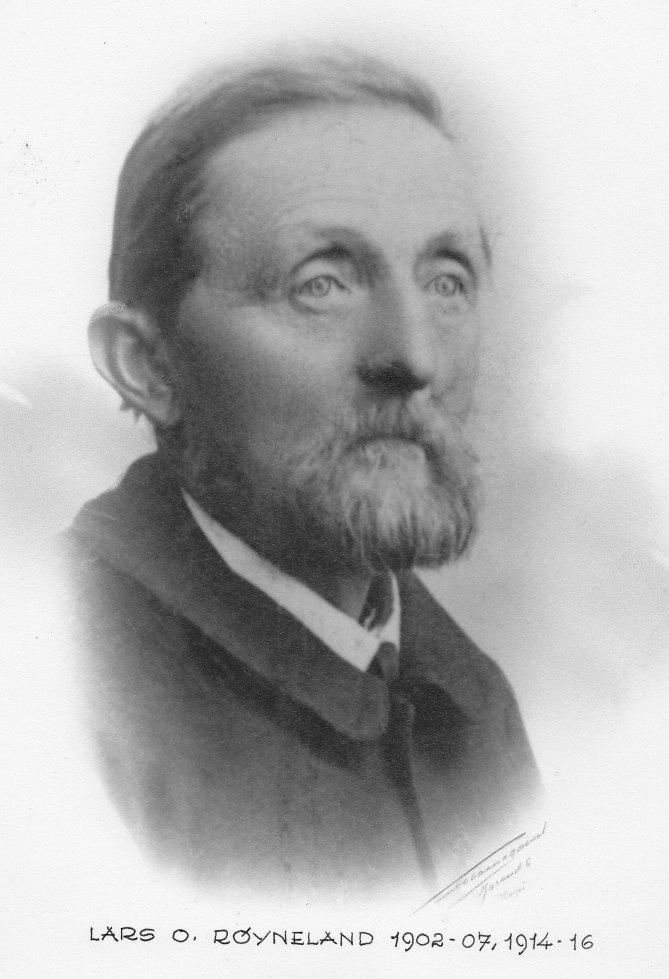 Lars O. Røyneland var ordfører i to perioder: fra 1902 - 1907 og 1914 - 1916.