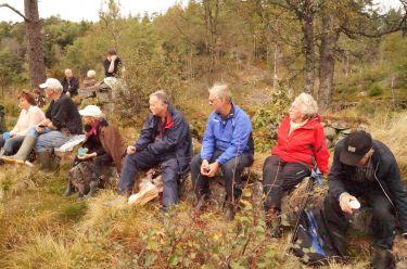 Unni og Helge Skuland, nn, Kåre Eidså, Olav Upsahl, Lillian og GeorgHomme