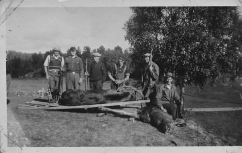Vellykket elgjaktlag på Horrisland 1947 - fra v.: nn, Kåre, Martinius, Anton Sangesland,kjenner ikke navnet på resten, kan noen hjelpe?