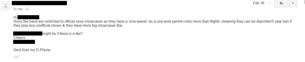 SXSW visa email