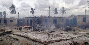 Faza town after the 2009 fire. [Original Image source unknown]