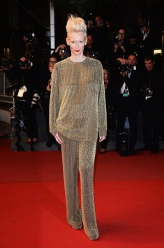 CANNES, FRANCE - MAY 25: Actress Tilda Swinton attends the Premiere of 'Only Lovers Left Alive' during the 66th Annual Cannes Film Festival at the Palais des Festivals on May 25, 2013 in Cannes, France. (Photo by Venturelli/WireImage)