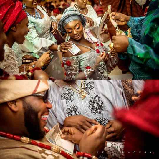 spraying money at a Nigerian wedding, happy couple traditional wedding