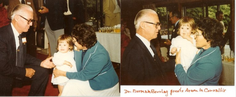 1980 Dr. Borlaug meeting Liz VanLeeuwen and granddaughter Arwen McGilvra (then 2 years old) at OSU.