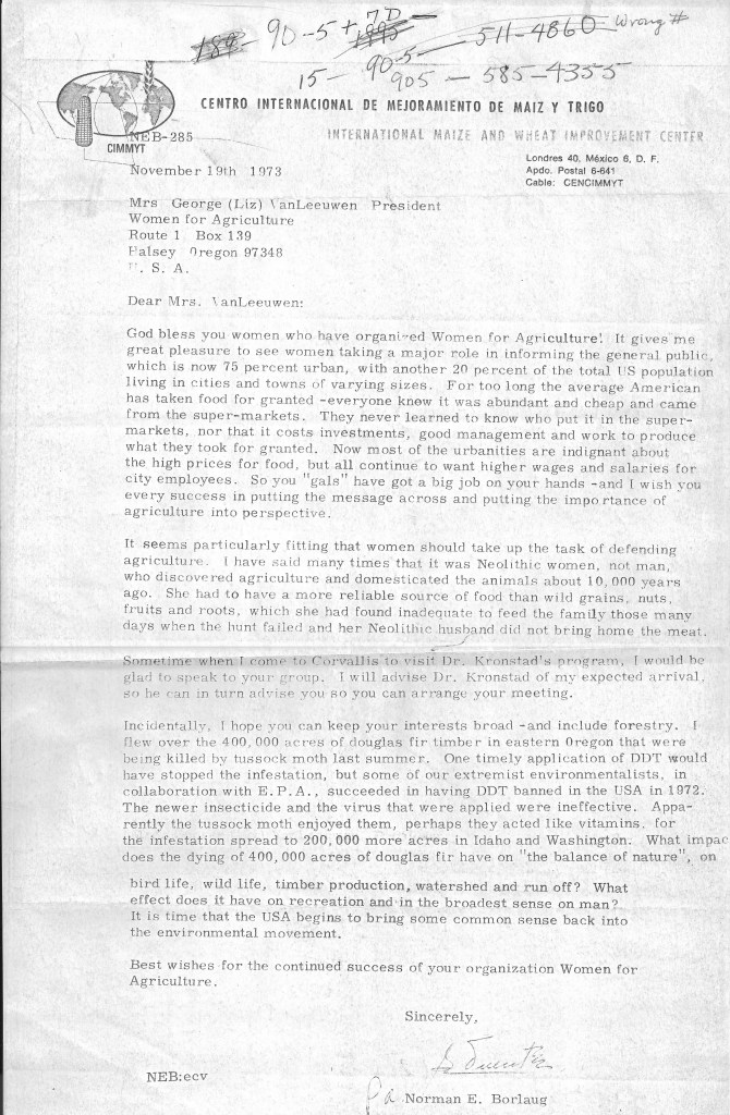 1973 Letter from Dr. Borlaug to Oregon Women for Agriculture