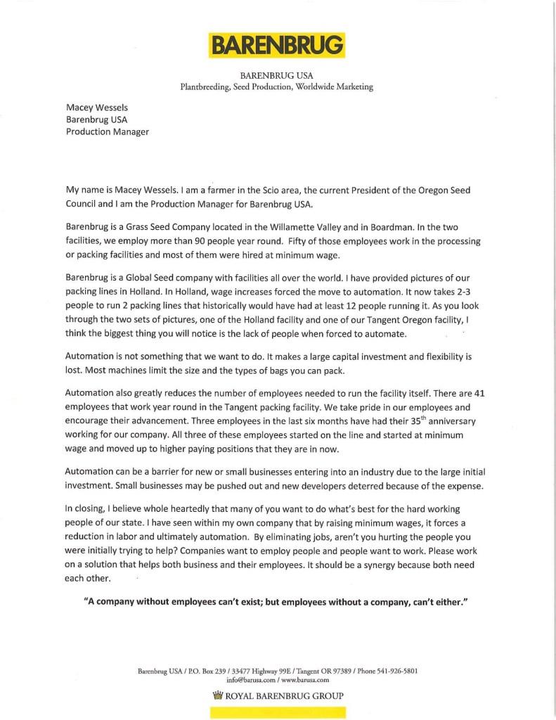 Macey Wessel's Testimony