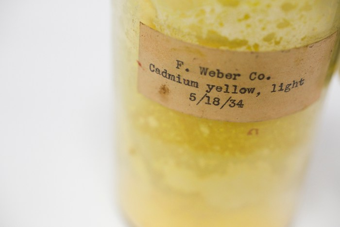 A specimen labeled Cadmium Yellow is pictured from the pigment collection of the Straus Center for Conservation and Technical Studies housed inside the Harvard Art Museums at Harvard University. Stephanie Mitchell/Harvard Staff Photographer