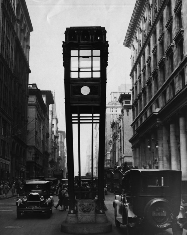 A traffic tower with vertical traffic lights. This tower looks like a huge grandfather clock. (Photo by George Rinhart/Corbis via Getty Images)