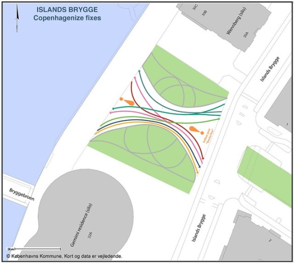 ISLANDS BRYGGE - desire lines - different colors - all lines