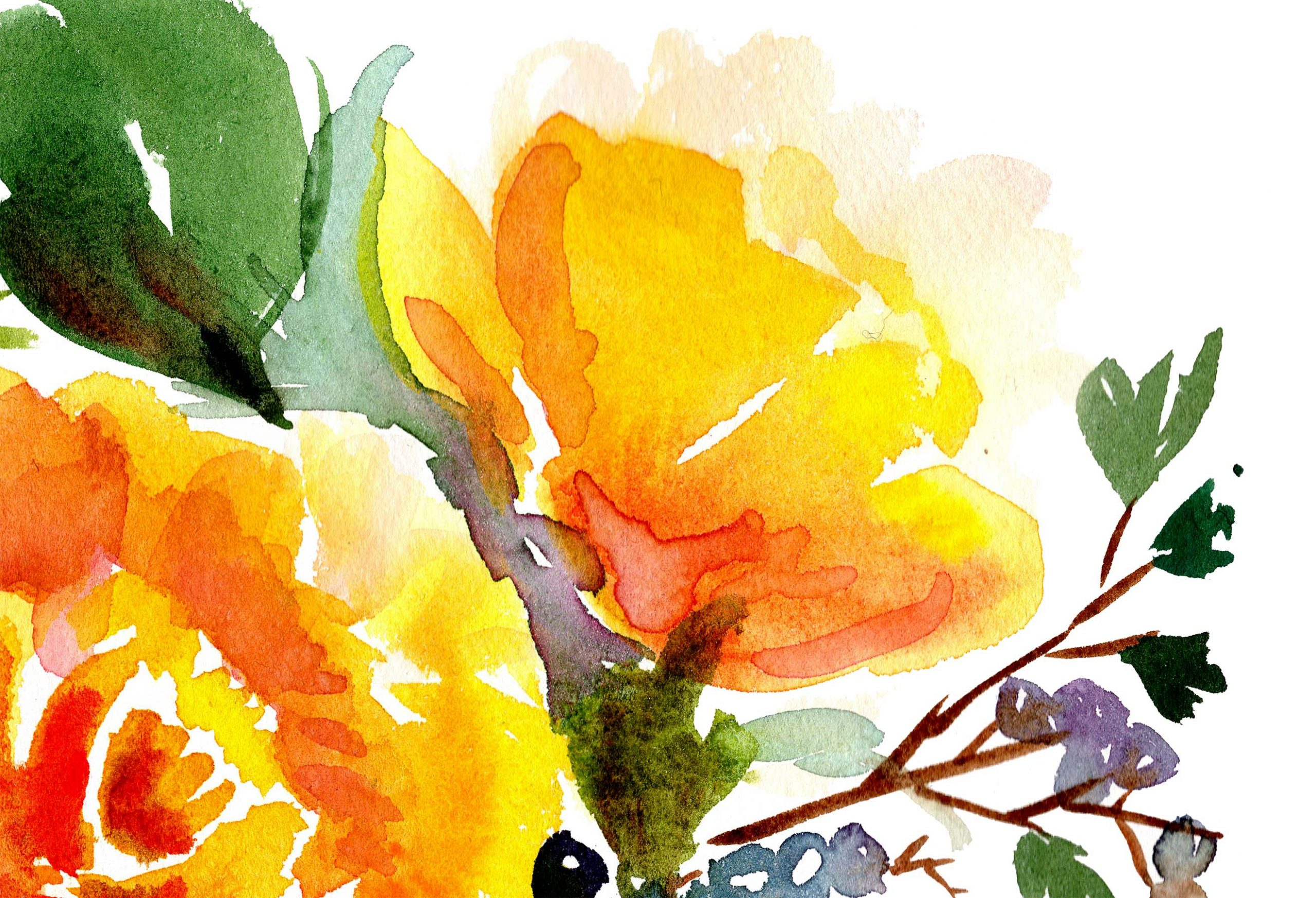 Berries and Yellow Roses detail