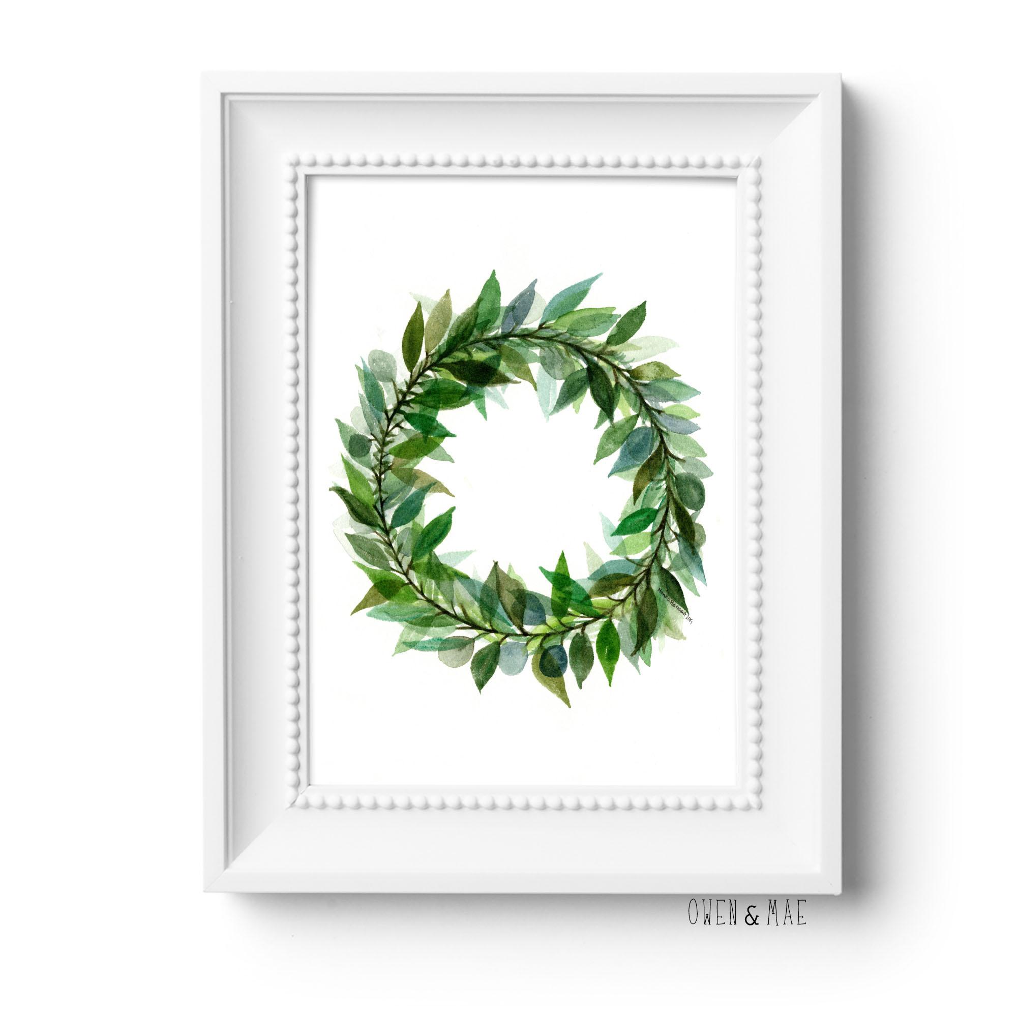Green Leaf Wreath Print