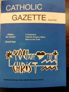 The last issue of the Catholic Gazette.