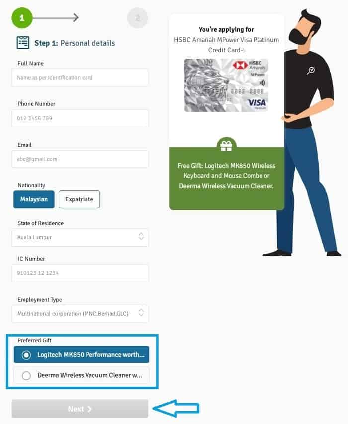 Step 2: how to apply for HSBC Malaysia credit cards