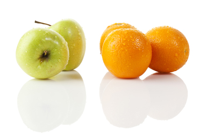 A picture of apples and oranges.