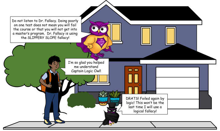 Slippery Slope logical fallacy comic with the OWL Superhero