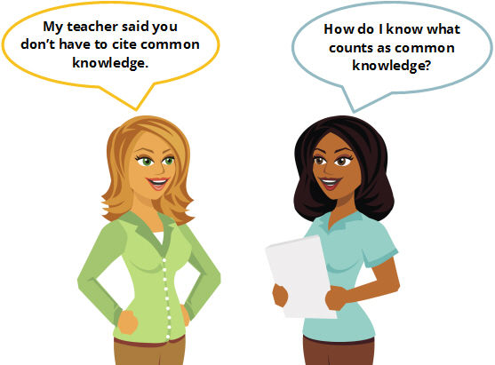 "Conversation between two women. One woman says ""My teacher said you don't have to cite common knowledge."" The other woman says ""How do I know what counts as common knowledge."""