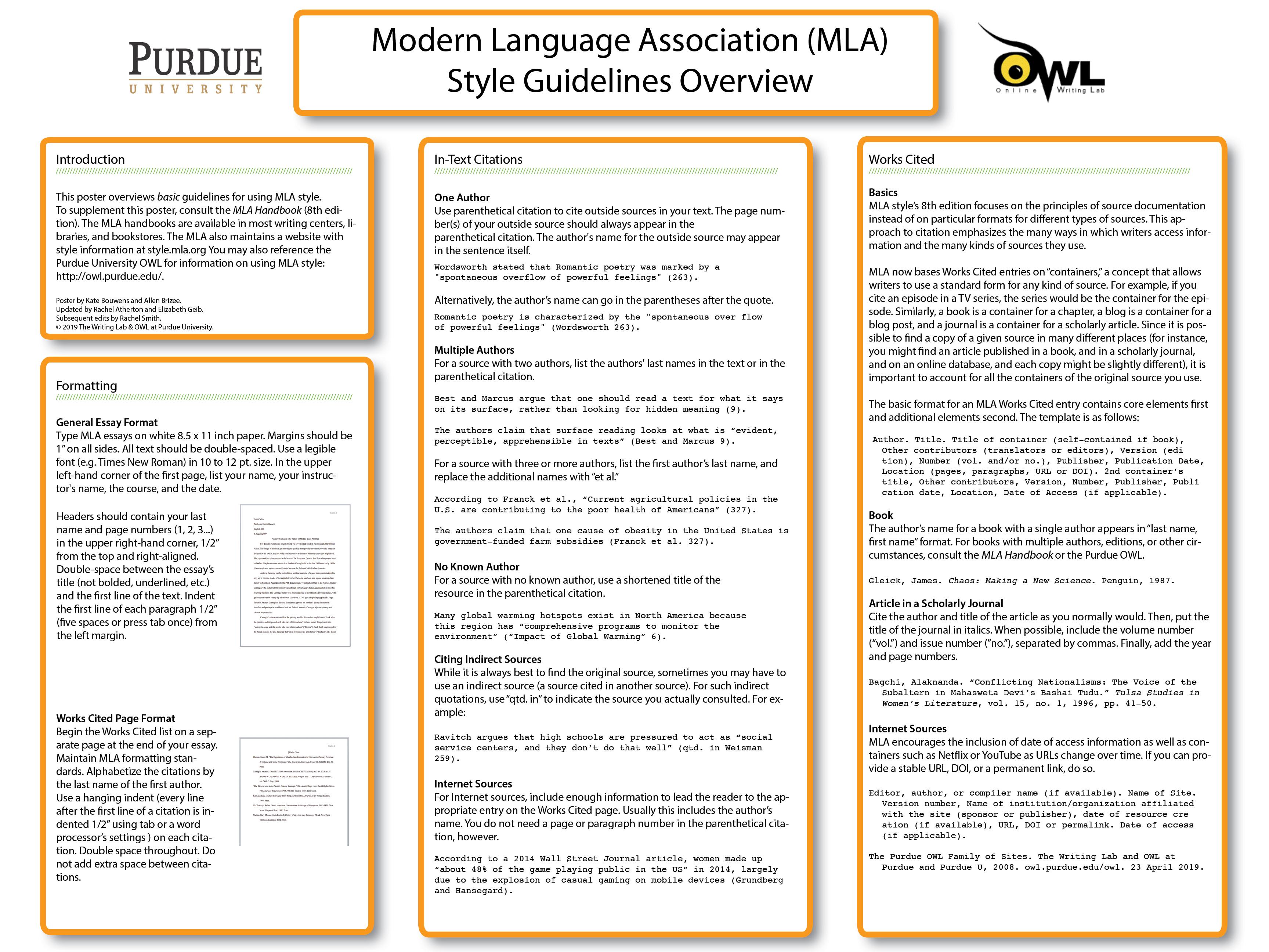 Mla Classroom Poster Purdue Writing Lab