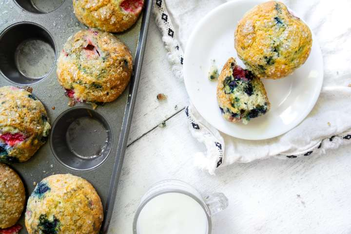Bakery Style Mixed Berry Muffins 1