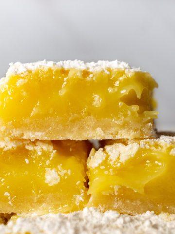 3 lemon bars stacked