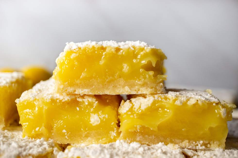 3 lemon bars stacked