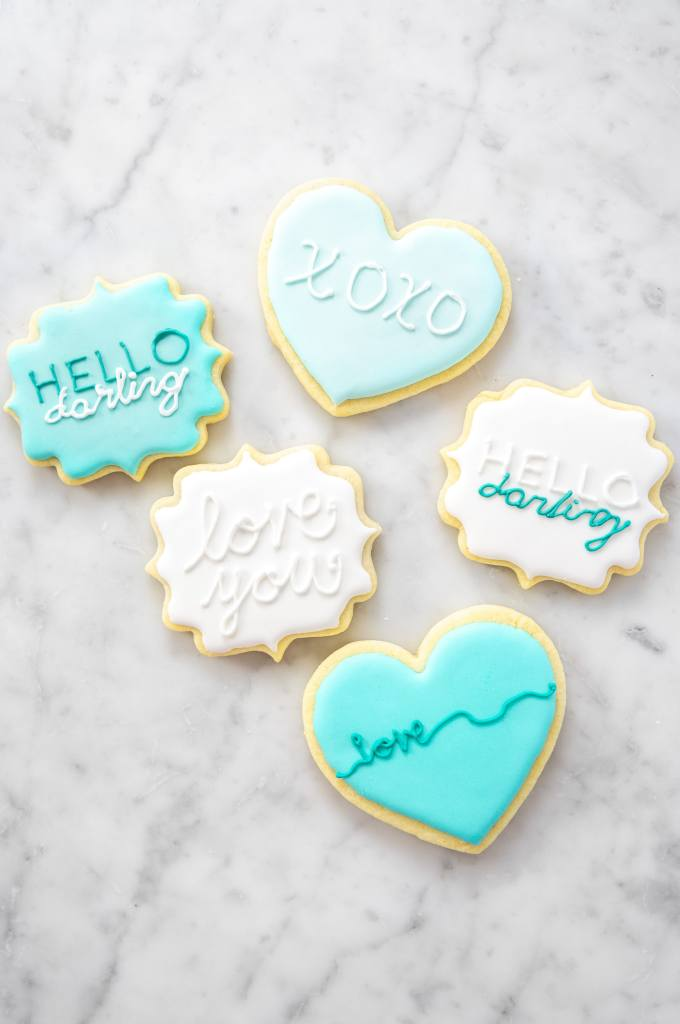 No Chill Sugar Cookie Cut Outs- blue valentine cookies