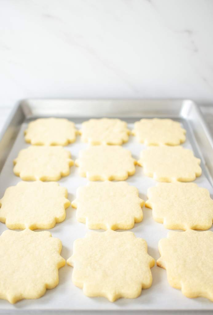 No Chill Sugar Cookie Cut Outs- on a tray 2