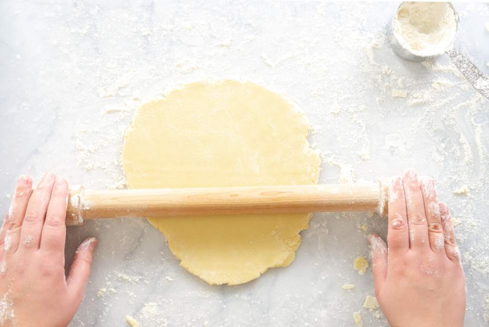 No Chill Sugar Cookie Cut Outs- rolling out dough