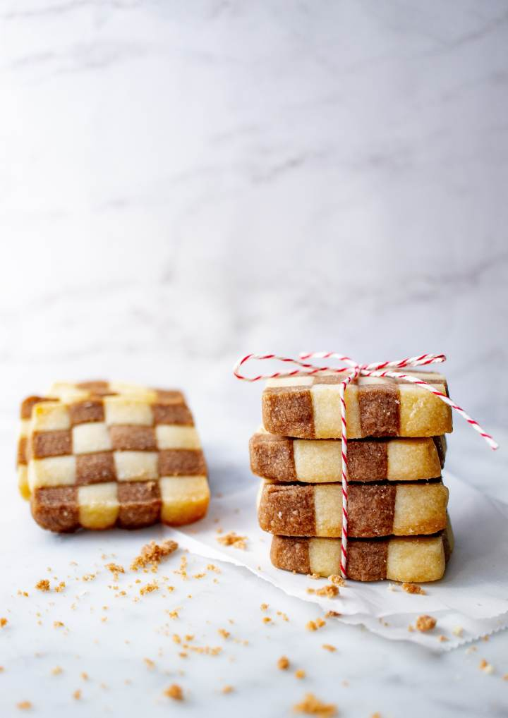 Beautiful checkerboard cookies make a great gift!
