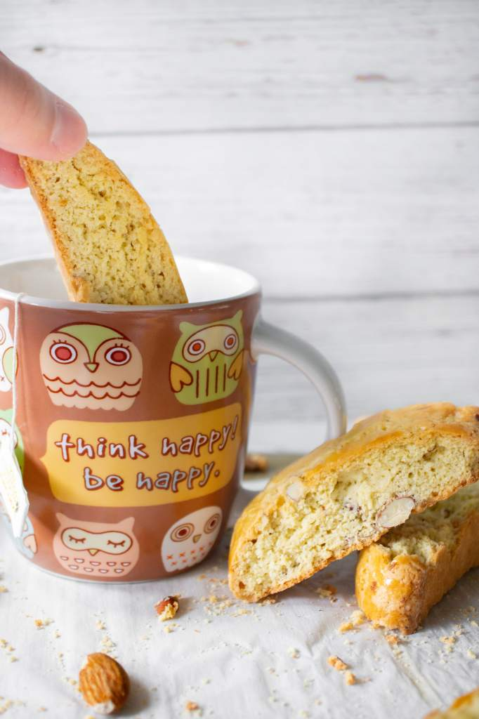 Dunking Almond Biscotti into a cup of tea