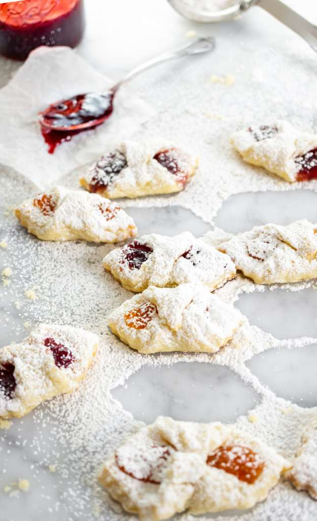 Kolaczki Polish cookies covered with powdered sugar