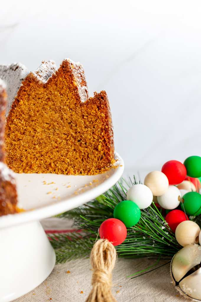 Gingerbread Bundt Cake - inside shot with beads flipped