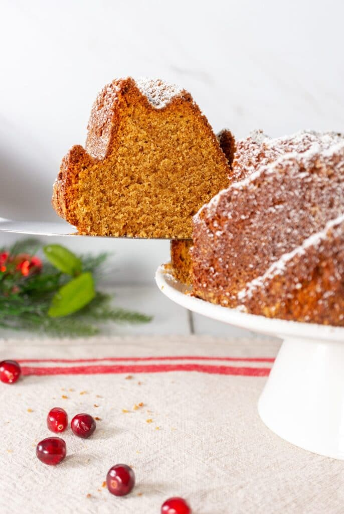 Gingerbread Bundt Cake - removing slice