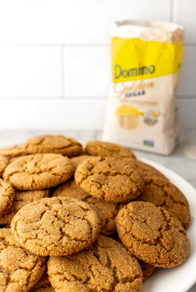 Maple Ginger Snap Cookies - On a plate with domino sugar