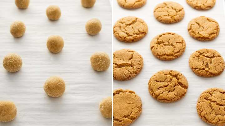 Maple Ginger Snap Cookies before and after baked