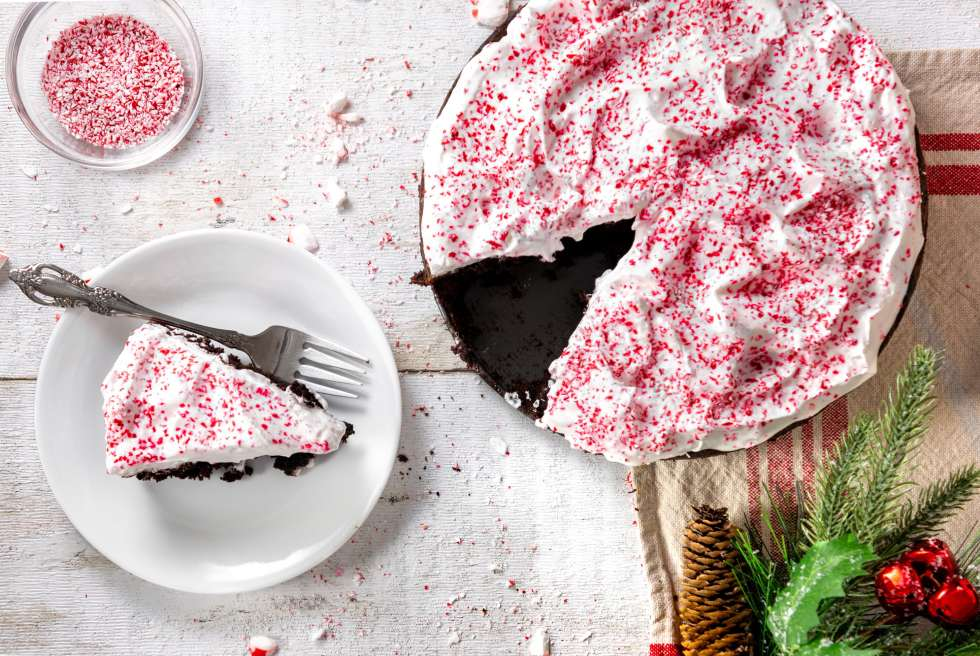 Holiday Brownie Cake on a table