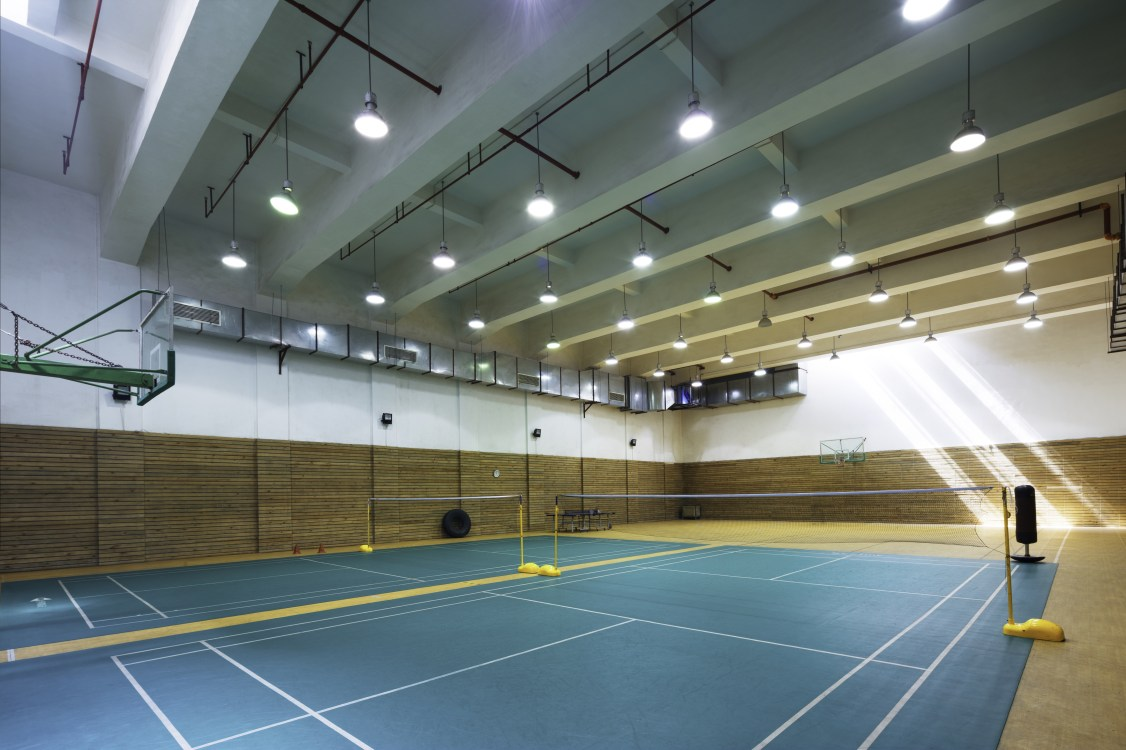 design of indoors badminton court in modern gym