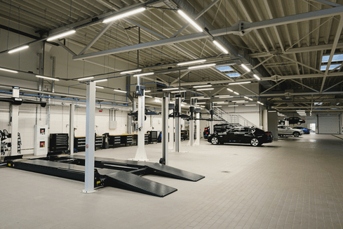 LED NCF Lighting in a large garage setting