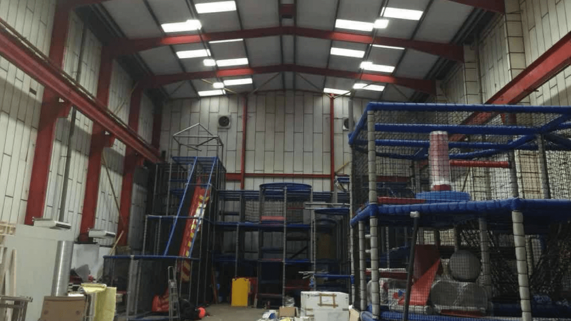 Owled's installation of LED warehouse lighting at Medieval Mayhem