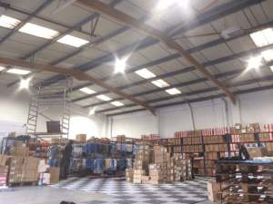 Susanna Clothing's finished LED warehouse lighting installation