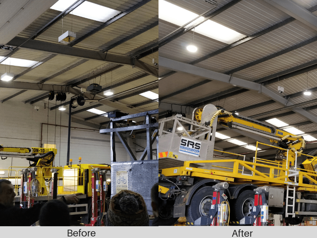 Image of SRS Rail warehouse lighting before and after