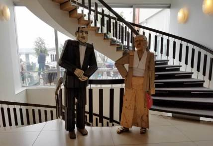 Iceland hotel wooden statues