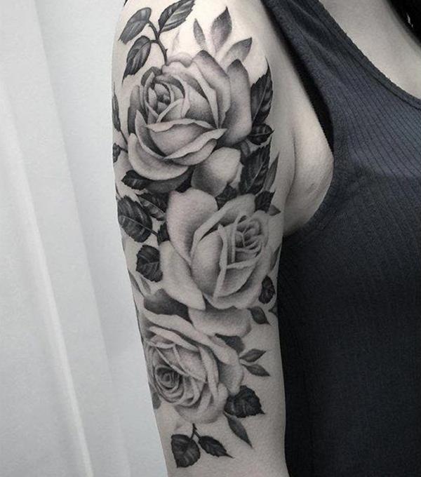 Hình xăm bắp tay lấy ý tưởng từ hoa hồng