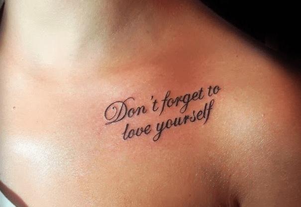 Hình xăm chữ Don't forget to love yourself