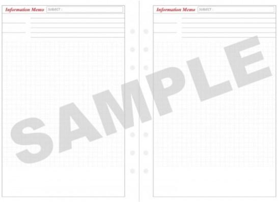A5サイズのシステム手帳用情報メモリフィルサンプル
