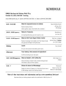 Galena Trip Schedule, Oct. 19