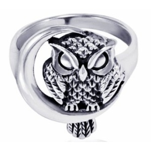 Owl Jewelry | Sterling Silver Detailed Midnight Owl Ring